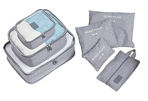 Socluer Organizer Valigia Set di 7 Organizzatori da Viaggio Cubi di Imballaggio lavanderia sacchetto dei bagagli Compressione Sacchetti Bag per i vestiti,scarpe,Intimo per vacanze