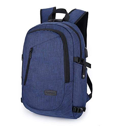 Zaino per laptop da 15-15,6 pollici anti borseggio anti graffio con presa ricarica USB e anti-spruzzo d'acqua con la cover anti-pioggia, Unisex Multiuso Antifurto Zaino Per Business-blu
