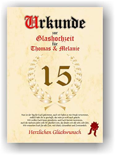 Urkunde zum 15. Hochzeitstag - Glashochzeit - Geschenkurkunde Glas Hochzeit personalisiertes Geschenk Karte zum Ehrentag XXL DIN A4