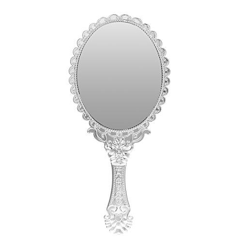 Bluelover Vintage Repousse Oval Maquillaje Floral Espejo De Mano Espejos De Plata Cosmética