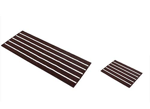 Lot de 2 tapis de cuisine antidérapants en caoutchouc pour intérieur/extérieur 42 x 65 cm + 42 x 110 cm Café