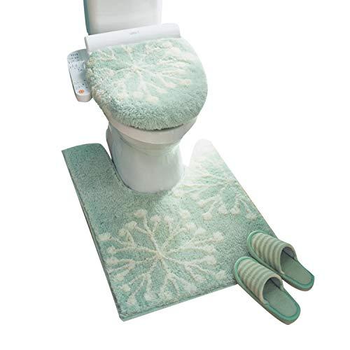 MOGU(JP)トイレ3点セットトイレマット便座カバーU型O型トイレカバート柔らかく暖かいふわふわ防寒吸水速乾すべりにくい洗濯機グリーン