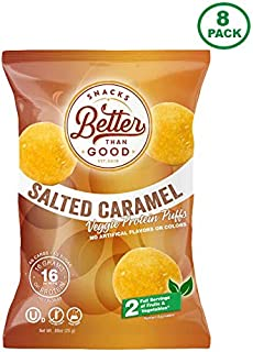 Better Than Good Low Carb Keto Protein Puffs (Salted Caramel 8-Pack) 2 Servings of Fruits & Veggies - 16g Protein, Low Sugar, Low Calories, Gluten Free, Diabetic Healthy Keto Snack Chips
