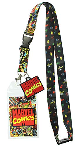 Marvel Comics Page ID Lanyard Badge Holder with 1.5' Rubber Charm Pendant