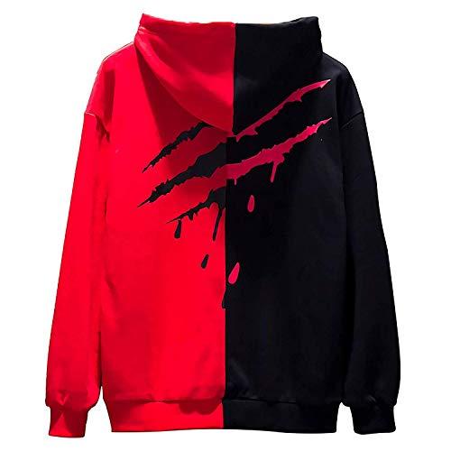 XIAOYAO Herren Basic Kapuzenpullover Sweatjacke Pullover Hoodie Sweatshirt (XXL(Höhe:180-185CM-Gewicht:70-78KG), Rot schwarz 2)