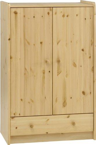 Steens For Kids Kleiderschrank, Kinderzimmerschrank mit Wäscheeinnteilung, 79 x 123 x 53 cm (B/H/T), Kiefer massiv, natur lackiert