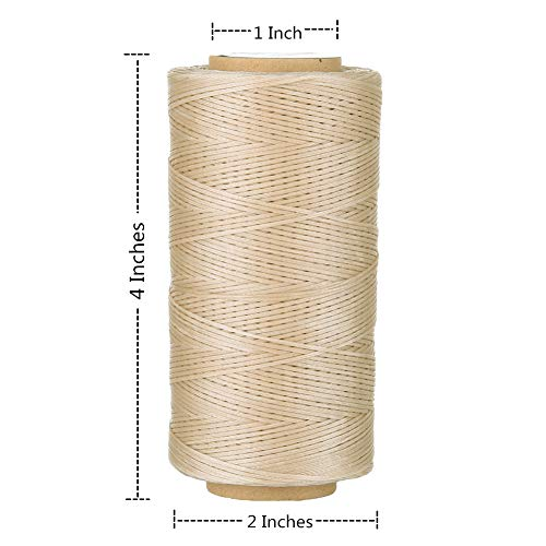 Selric [24 Colors Available] 210D 1mm 196Yards Flat Waxed Thread Hand Stitching Cord Leather Craft Tool Leather Stitching Sewing (Light Khaki)