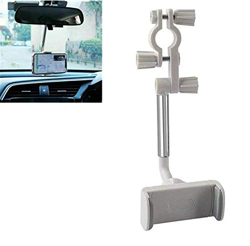 Universal Car Phone Holder, 2 in 1 New 360° Rearview Mirror Phone Holder, Car Rearview Mirror Mount Phone Holder Universal Car Rearview Mirror Phone Bracket for 4.0-6.1 Inch Mobile Phones GPS (White)