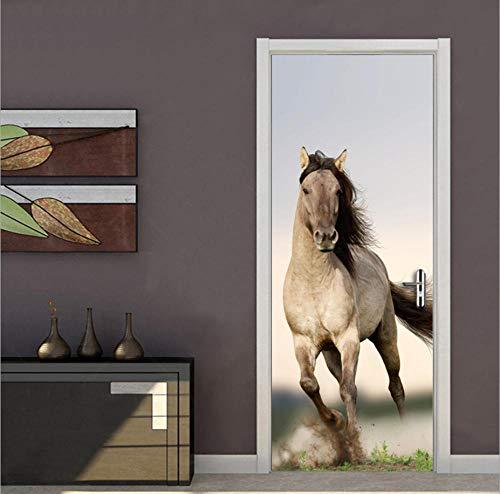 PinchPIPI 3D Türaufkleber Pferde Thema Türbild Viel Spaß beim Laufen PVC Selbstklebende Innentüren Türfolie wasserdichte Abnehmbare für Schlafzimmer Wohnzimmer Dekoration Wandbild 77x200cm