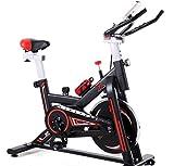 Milky Way - Bicicleta estática silenciosa de acero inoxidable con monitor LCD, bicicleta estática, manillar y cómodo asiento giratorio para gimnasio en casa