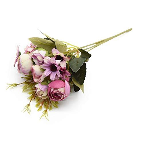 JINGGEGE Multicolor Tee-Rosen Vasen for Hauptdekoration Zubehör Gefälschte Daisy Plastikblumen-Hochzeit Dekorative künstliche Blumen DIY Möbel-Dekoration (Color : 4)