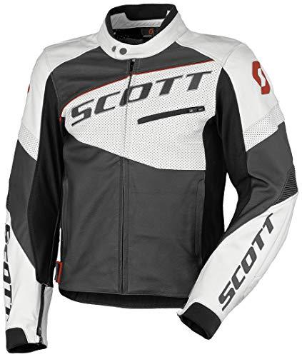 Scott Track Blouson Leder Motorrad Jacke schwarz/weiß 2019: Größe: XXL (54/56)