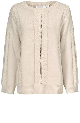 Masai Clothing Pullover, Zopfmuster, Cremefarben Gr. XL, Whitecap