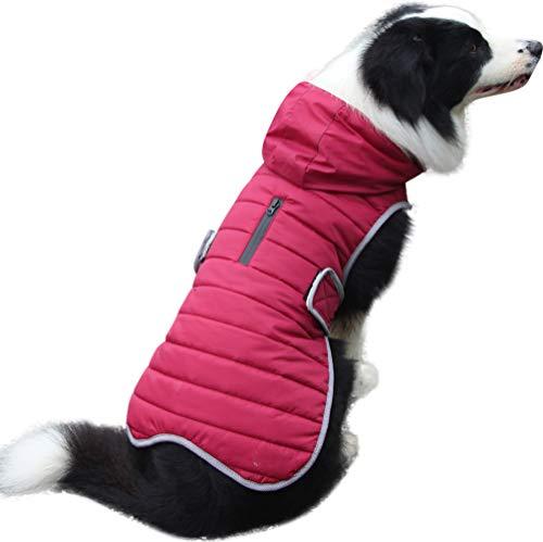 JoyDaog Sudadera de forro polar para perros grandes, cálida chaqueta de cachorro para invierno frío, abrigos de perro impermeables con capucha, color rojo XXL