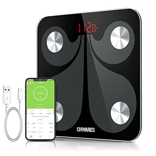 CHWARES Báscula de Grasa Corporal Inteligente Bluetooth Recargable por USB Báscula para Baño Digital con Aplicación Inalámbrica Monitor de Composición Corporal para Peso Corporal,báscula de baño