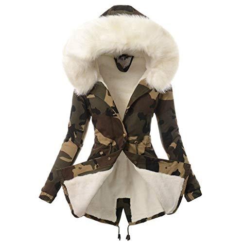 URPRU Felpa Camuflaje Parker Parka Moda Cintura Ajustable Cuello de Piel Chaqueta de Invierno para Mujer Abrigo Parka con Capucha de Manga Larga