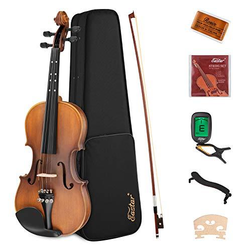 Eastar 1/4 Violine Set EVA-3 mit Lernpunkt in Fingerplatte mit Inlay mit Hardcase, Schulterstütze, Bogen, Kolophonium, Geige Brücke und Saiten, Matt