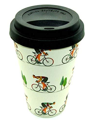 Story & Heraldry Reisebecher aus Bambus, waschbar, umweltfreundlich Fahrrad