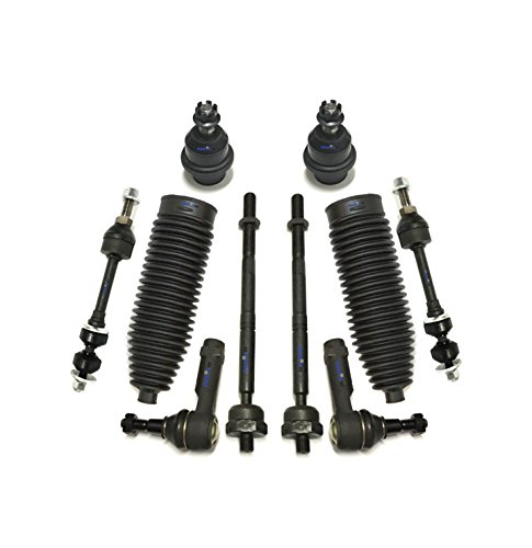 10 Pc Front Suspension Kit Inner & Outer Tie Rod Ends Lower Ball Joints Sway Bar End Links Rack & Pinion Bellows