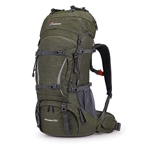 MOUNTAINTOP Zaino Trekking 50L/70L Zaino Montagna Grande capacità Zaino Adulto per Escursionismo Campeggio Alpinismo Viaggio Multifunzione (Army Green,50L)