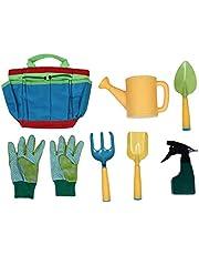 Cabilock 7-delige gereedschapsset voor kinderen, tuingereedschap, schep, rake, vork, troffel, handschoenen, gieter en dode tas, tuinwerk, gereedschap voor kinderen, beste outdoor speelgoed