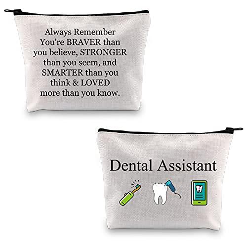 Kosmetiktasche für Zahnarzt und Zahnarzt, Zubehör, Kosmetiktasche, Reisetasche, Zahnaufwertung, Geschenke, Baumwolle mit Reißverschluss, Large, Polyester,