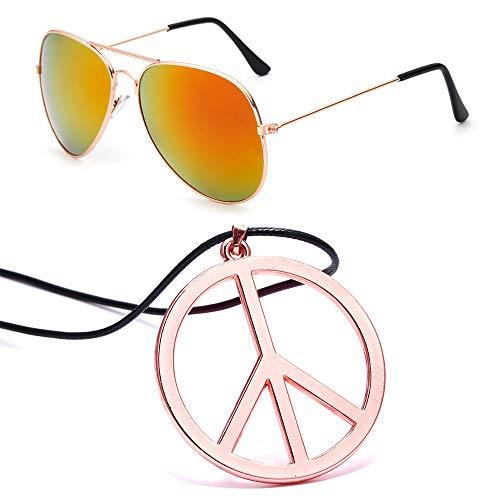 FUTTMI Hippie Dressing Accessory Set Hippie Glasses and Peace Sign Necklace for Women Men