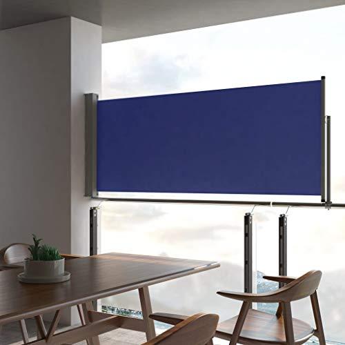 UnfadeMemory Ausziehbare Seitenmarkise Sichtschutz Windschutz Sonnenschutz Markise Seitenrollo Multifunktional Terrasse Markise Balkon-Sichtschutz (Blau, 100x300 cm)