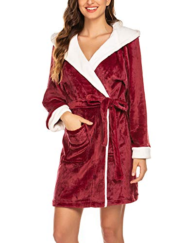 Hotouch Womens Hooded Bathrobe Kimono Robe Short Bath Robes for Women Wine Red M