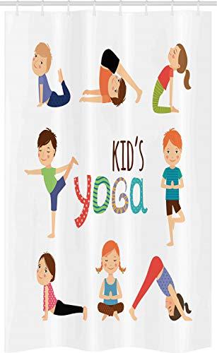 ABAKUHAUS Yoga Cortina para baño, Gimnasia para niños, Tela con Estampa Digital Apta Lavadora Incluye Ganchos, 120 x 180 cm, Multicolor