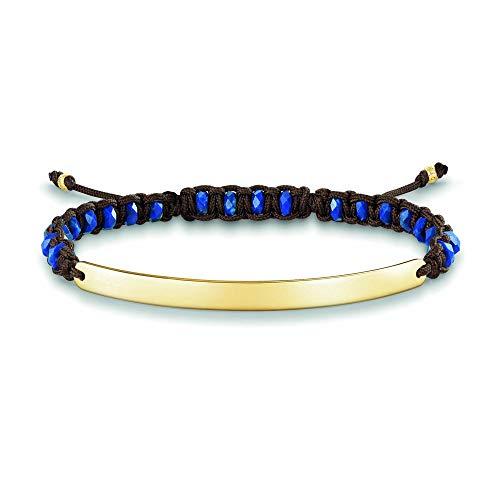 Thomas Sabo Damen-Armband Love Bridge 925 Sterling Silber 750 gelbgold vergoldet Nylon blau Länge von 14.5 bis 21 cm Brücke 5 cm LBA0056-892-32-L21v