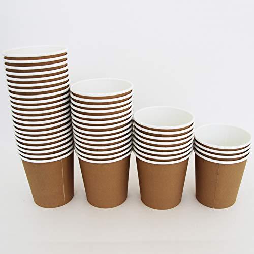 Extiff - Juego de tazas de cartón Kraft para llevar café, tazas dese