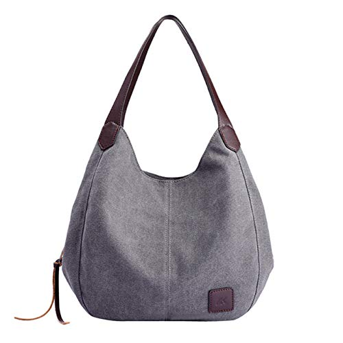 Victoe Damen Canvas Baumwolle Handtasche Premium Damen Dot Bag Retro Pure Color Multi Pocket Ms. Tote, grau (Grau) - VICTOE-9845