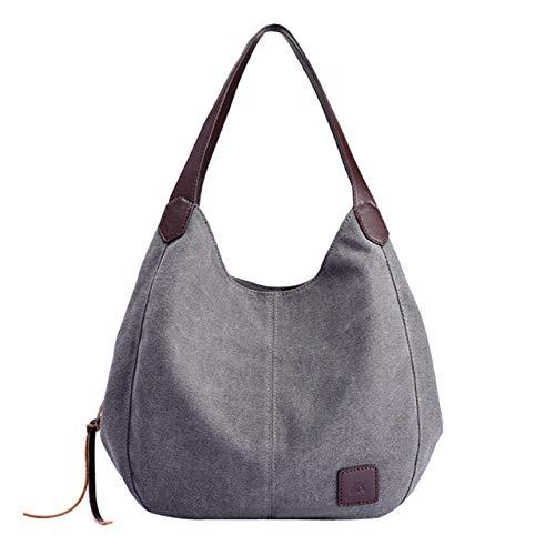 Victoe Damen Handtasche aus Segeltuch, Baumwolle, gepunktet, Retro-Stil, einfarbig, mehrere Taschen, grau (Grau) - VICTOE-9845