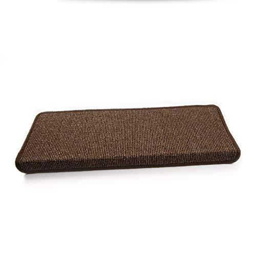 Floordirekt Stufenmatten Tobago für Treppenstufen innen | 24 x 65 cm | rechteckig & selbstklebend | hochwertig erhältlich (15 Stück, Braun)