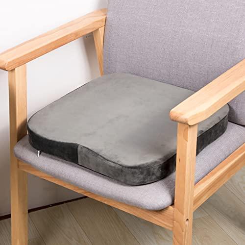 RAILONCH Cojín de espuma viscoelástica para silla, 40 x 40 cm, cojín de asiento para exterior, cojín de rebote lento, suave, desmontable, cojín de suelo para tatami, jardín, oficina (gris)