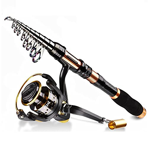 BNTTEAM Spinning Fishing Rod Reel Combo 99% Carbono telescópico retráctil Mini Ultraligero 1.8M 2.1M 2.4M 3.0M 3.6M Caña con 12BB Carrete de Pesca (1.8M/70.8in/5.9ft)