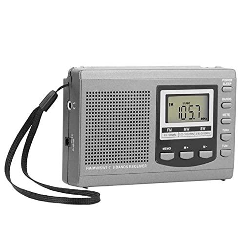Radio de onda corta Fm Sw Mw, Radio estéreo de banda completa digital, Demodulación digital Receptor de antena externa Dc Fuente de alimentación (Plata)