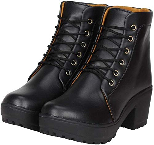 SILVER CAT Latest High Heel Long Ankle Boots Look for Womens and Girls Black