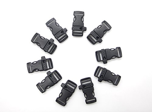 MMY-Double Côté Réglable Libération Boucles en Plastique Release Buckle avec Sifflet pour Sangle/Corde/Chaîne de Chien/L'extérieur/Randonnée/Camper-Noir-Lot de 10 (48 * 15 mm)