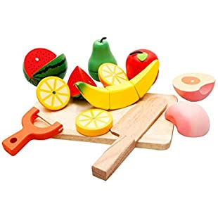 IrahdBowen Kids Toys Play Food Set Wooden Cutting Cooking Food Fruits Vegetables Kitchen Sets, Pretend Play Kitchen Kits Toy,Kalebay Early Childhood Fruit And Vegetable Cognitive Toys:Whiteox