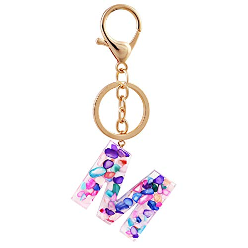 ACVIP Women Girls Initial Letter Keychains Acrylic Alphabet Pendant Keyring for Purse Handbag Charm (M)