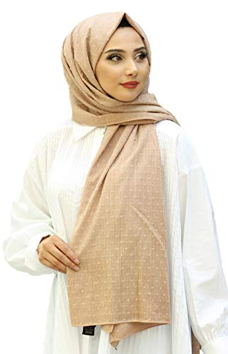 Hijab Shawl Pom Poms Embroidered Dot Design Organic Dyed 100% Cotton All Season Solid Color Light Weight Shawl, Scarf, Head Wrap, Turban (Latte)