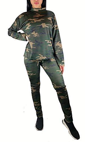 Worldclassca Damen Camouflage Jogginganzug Jogging Army Trainingsanzug MILITÄR TARN Jogging Fitness Yoga Sportanzug Jacke MIT Hose Set Langarm Hoodie Blogger S-3XL (S/M 36-38, Grün-Camouflage)