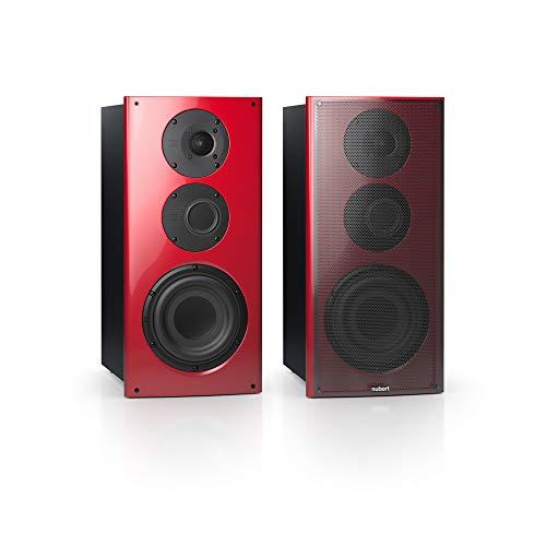Nubert nuVero 60 Kompaktlautsprecherpaar   High End Lautsprecher für Stereo   HiFi Qualität auf höchstem Niveau   passive Kompaktboxen mit 3 Wegen Made in Germany   Lowboardboxen Rot/Schwarz   2 Stück