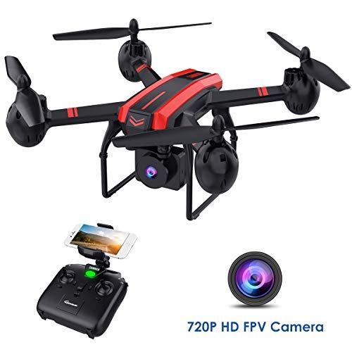 SANROCK X105W Drohnen mit 720P HD-Kamera für Erwachsene und Kinder, WiFi-Echtzeit-Video-Feed. Lange Flugzeit 17 Minuten, Höhenhalt, Schwerkraftsensor, Route erstellt, One Key Return
