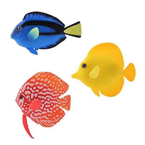 3 piezas coloridas decoraciones de acuario de peces falsos luminosos artificiales de silicona simulación de peces tropicales para lámpara de burbujas de acuario, decoración de peces