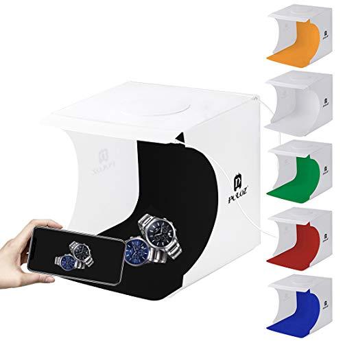 Kit de studio de photographie portable, mini tente de boîte de prise de vue professionnelle pliable, 2 panneaux LED intégrés, 6 fonds, 24 cm x 23 cm x 22 cm
