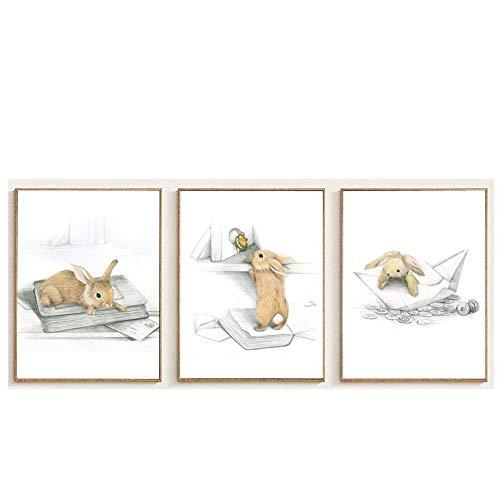 WJWGP Kinderzimmer Wand Bilder Dekor Bild Kawaii Tiere Poster Boot Hase GemäLdedrucke Pilz Schlitten Kaninchen Leinwand Leinwand Kinderzimmer Dekor 40x60cmx3 Kein Rahmen