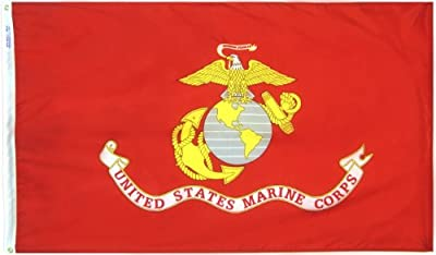 Annin Flagmakers Model 439005 U.S. Marine Corps Military Flag Nylon SolarGuard NYL-Glo, 3x5 ft, 100% Made in USA to Official Specifications. Officially Licensed